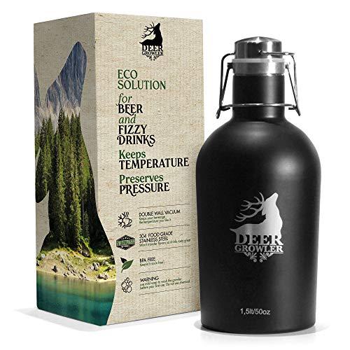 Deer Growler   Botella térmica para cerveza, bebidas refrescantes y agua. Mantiene la presión y la temperatura. 1,5 l Hermética doble pared de acero inoxidable   Ecológica BPA free para camping