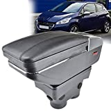 AniFM Apoyabrazos del Coche para Peugeot 208 2013-2018 Reposabrazos Caja de Almacenamiento giratoria Decoración Car Styling,A