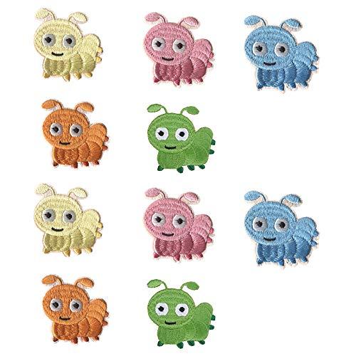 Lot de 10 patchs brodés autocollants en tissu avec motif animal de dessin animé