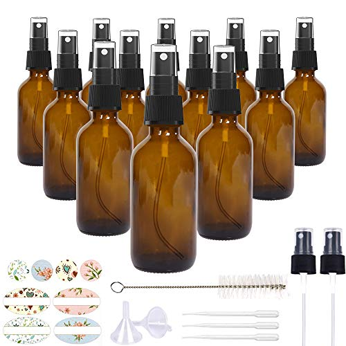 12 Pack, HwaShin 2oz Amber Glass Spray Bottles with Black Fine Mist Sprayers for Essential Oils, Perfumes & Aromatherapy (1 Brush, 2 Funnels, 3 Droppers, 2 Extra Nozzles, 24 Pieces Labels Included)