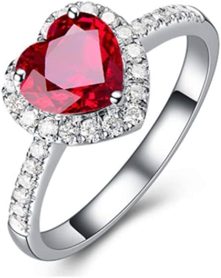 Natural Ruby 925 Sterling Silver Heart Love Women Gift Wedding Ring in All Sizes