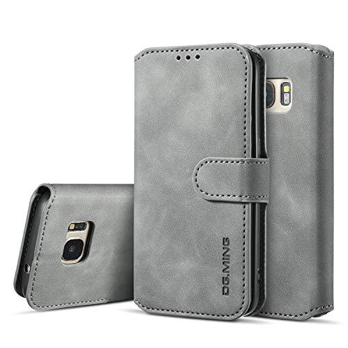 UEEBAI Handyhülle für Samsung Galaxy S7, Hülle Retro Premium PU Leder Weiche Klapphülle Magnetverschluss Wallet Kartenfach Standfunktion Cover Anti Kratzern Flip Hülle Trageband Schutzhülle -Grau