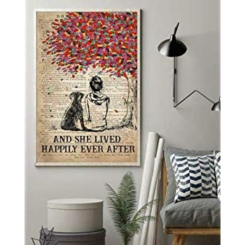 Dog K9 and She Lived Happily Ever After Canvas With Framed Poster no Framed