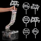 107 Pieces Cake Money Box Kit, Pulling Money Box Cake Topper Money Box Kit with 6 Pieces Happy Birthday Cake Topper, 100 Pieces Clear Bag Connected Pockets for Cake Decoration Party Favor (Silver)