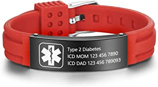 Free Engraving 9 Inches Silicone Adjustable Medical Bracelets Sport Emergency ID Bracelets For Men Women Kids Waterproof Stainless Steel Rubber Alert Bracelets