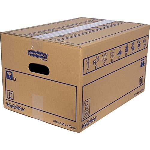 Bankers Box 6207201 Pack 10 Cajas de Cartón 47 x 26 x 32 cm con Asas para Mudanzas, Almacenaje y Transporte Ultraresistentes, Canal Doble Reforzado (Talla M+) 39 litros