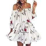 TWIFER Schulterfrei Boho Kleider Damen Blumendruck Sommerkleid Sommer Party Strand Minikleid(Weiß,M)