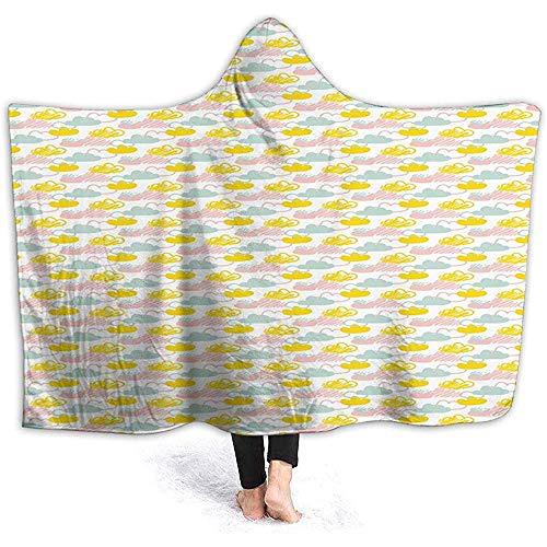Duanrest Decke mit Kapuze Cuddle Sherpa Fleecedecke, Flauschige Illustration mit Wolkenschuhen
