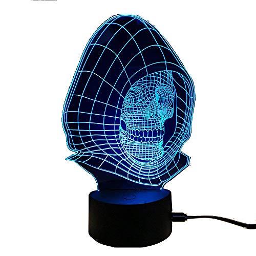 Aida Bz Teufel Kopf Tischlampe 3D Stereoskopische Tischlampe Touch Farbe Nachtlicht Geschenk Licht,Sevencolors,Touchswitch