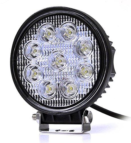 Hoch Power Super Bright Rund 27W LED Arbeitsscheinwerfer Scheinwerfer Arbeitslampe Strahler Rampenlicht Auto SUV LKW Geländewagen Kuppel Beleuchtung Retrofit-Lampen lampe auto led lampe auto lichte außenlampe mit 1 Jahr Garantie mit 12V/24V Eingangsspannung (12v weiß)