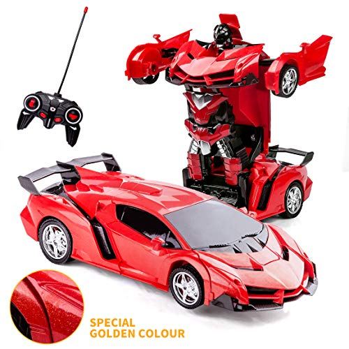 Refasy RC Cars for Boys Age 4-7,Remote Control Transformation Car Robot Toys for Child Electric Deformation Car Vehicle Toys for Kid 8-15 Ages Transforming Toy Deformed Cars Best Birthday Toy Red