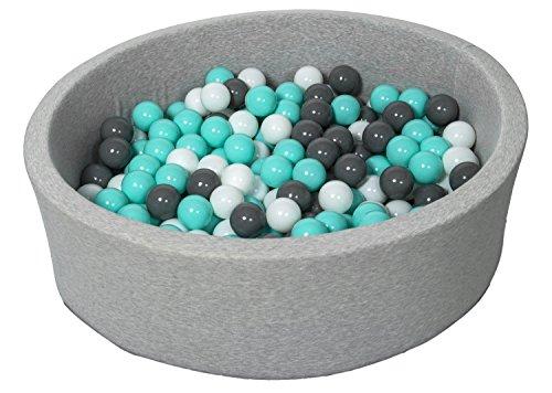 Velinda Piscine a balles pour Enfant, Aire de Jeu + 300 balles (Couleurs des balles: Blanc, Gris, Turquoise)