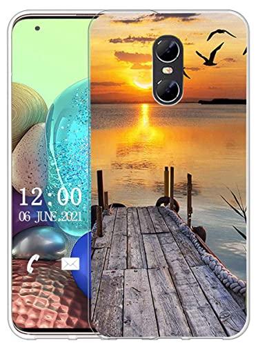 Sunrive Kompatibel mit Ulefone Gemini Hülle Silikon, Transparent Handyhülle Schutzhülle Etui Hülle (X Sonnenuntergang See)+Gratis Universal Eingabestift MEHRWEG