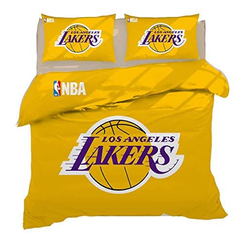 QWAS Juego de ropa de cama de 3 piezas, diseño de Los Angeles Lakers