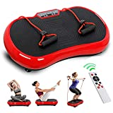 Vibration Plate Exercise Machine, Full Body Fitness Workout Vibration Platform W/Resistance Bands, Bluetooth, Remote Control for Home Fitness & Weight Loss