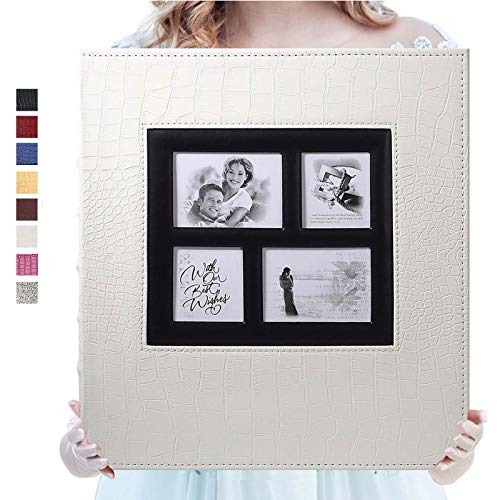 Photo Album for 600 4x6 Photos Leather Cover Extra Large Capacity for Family Wedding Anniversary Baby Vacation (White with Crocodile Pattern & 600 Pockets)