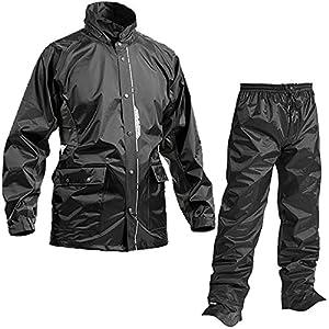 レインスーツ 上下 メンズ (耐水圧:10000mmH2O) (背面/脇 通気性機能) (反射プリント) (水滴浸入防止) (前開きファスナー) L ブラック AS-5800