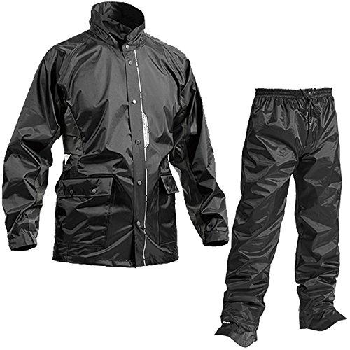 レインスーツ 上下 メンズ (耐水圧:10000mmH2O) (背面/脇 通気性機能) (反射プリント) (水滴浸入防止) (前開きファスナー) M ブラック AS-5800