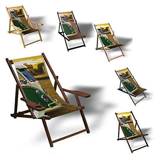 Printalio - Vintage Bus - Liegestuhl Bedruckt Balkon Garten Sonnenliege Relax Holz Terrasse | mit Armlehne, Natur