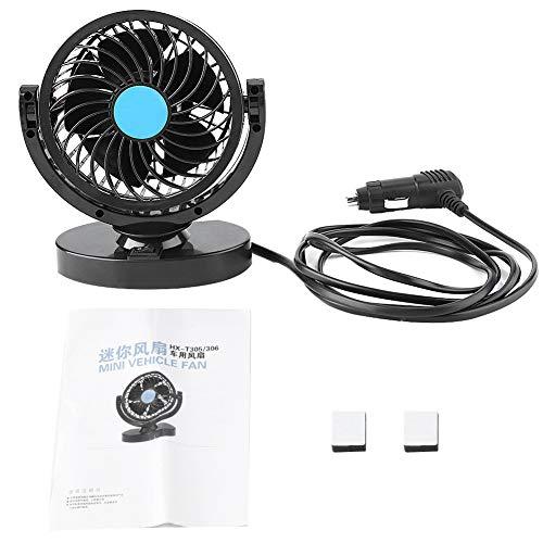 Gorgeri Ventiladores de coche eléctrico 12V, ventilador de aire de refrigeración portátil para coche Ajuste silencioso del refrigerador para furgoneta SUV RV Barco Auto Vehículos