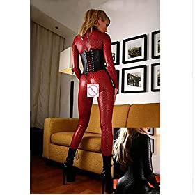 SHANGXIAN Women's Latex Catsuit Shiny Snakeskin Faux Leather Open Crotch Jumpsuit,Red,XL