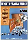 PPD Inkjet - A4 x 30 Pegatinas de Vinilo Autoadhesivo Imprimible de Acabados Mixtos - 10 Brillantes, 10 Mates y 10 Transparentes - Para Impresión de Inyección de Tinta - PPD-36/38/39-10