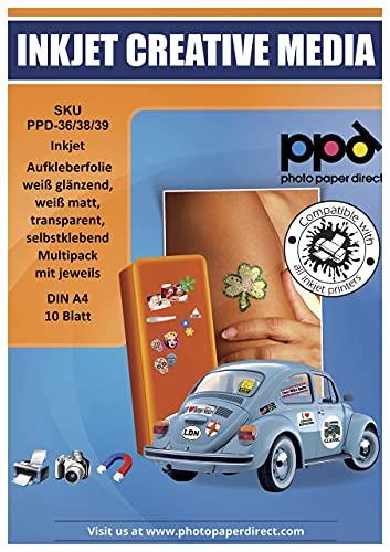 PPD Combo 30 x A4 Autocollants Vinyle, 10 Blanc Brillant + 10 Blanc Mat +10 Transparent, Personnalisés, Impression Jet d'Encre, PPD036/38/39-10