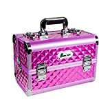 Boknight Beauty Train Case - Aluminum Makeup Train Case With Brush Holder + Mirror + Shoulder Strap (Rose)