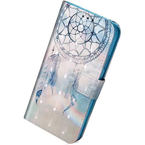 Herbests Kompatibel mit Samsung Galaxy S10 Lite Hülle Leder Handyhülle Bunt Glänzend Glitzer Muster Klapphülle Brieftasche Schutzhülle Flip Case Tasche Ständer Kartenfächer,Dreamcatcher