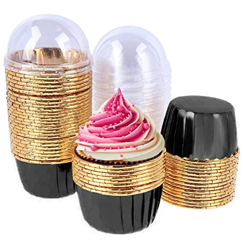 50 Pack Aluminum Foil Baking Cups with Lid, Disposable Paper Ramekins Cups for Mini Muffin Cupcake Pudding Snacks Dessert, Recyclable Catering Wedding Birthday Party Favor Baking Cups (Black)