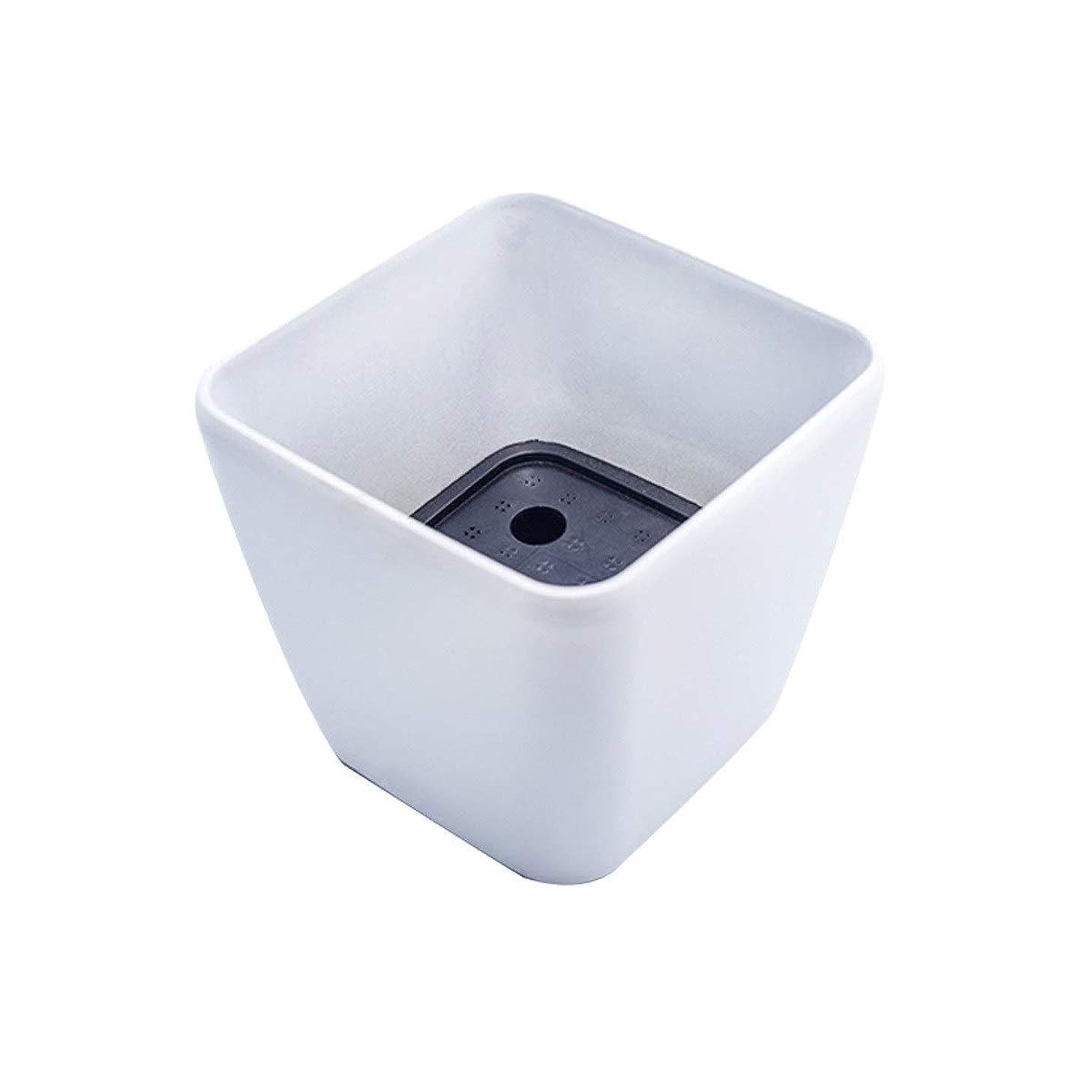 シリアルお酒爆風MYQXAZ スクエア環境に優しい樹脂プラスチック植木鉢、自動灌漑ポット (Color : White)