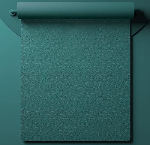 Almohadilla De Yoga Engrosada, Ensanchada Y Alargada Para Principiantes 8 mm (para principiantes) [Modelo básico monocromo] (cuerda de amarre + bolsa de red) Verde Van Gogh (61 * 183 cm)