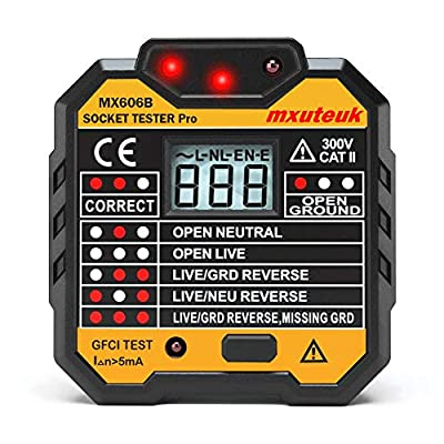 mxuteuk Socket Tester/GFCI Receptacle Tester/Electric Tester Multi-function with Voltage Display, Electric Fault Checker/Home Outlet improvement acceptance and safety inspection MX606B