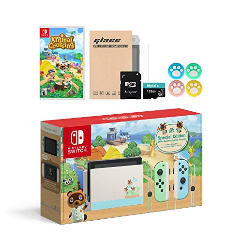 Animal Crossing Switch Console Holiday Combo: Switch Limited 32GB Console, Animal Crossing New Horizon Game, Mytrix 128GB MicroSD with Adapter and Accessories