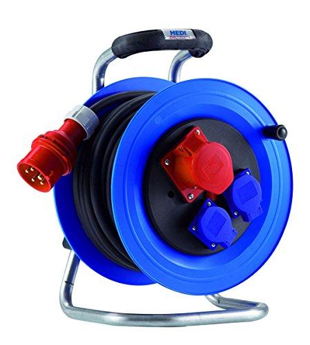 Hedi K2YD2016T2 - Carrete alargador de cable (plástico, 400 V, 16 A, 20 m, 5 x 2,5 mm)