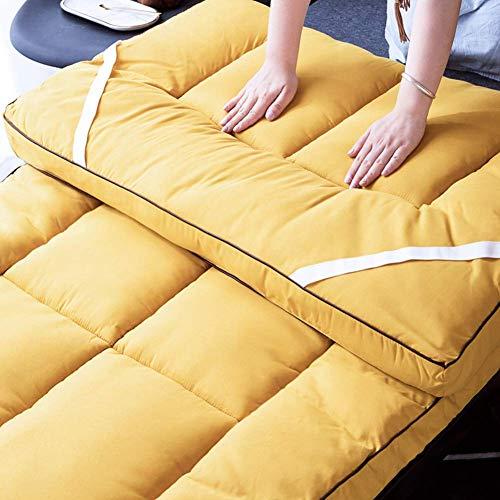 FF Matelas de Tatami futon Pliable, épaissir Le Matelas de Couchage d'étudiant de dortoir étudiant de Matelas de Couchage Duveteux Moelleux a équipé Le Tapis de Sol de Yoga-Jaune 90x190cm (35x7