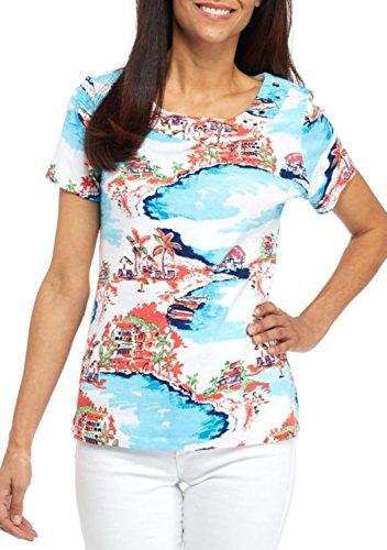 Kim Rogers Women's Petite Size Short Sleeve Grom Frame Tee (Turquoise-Coral, Petite Large)
