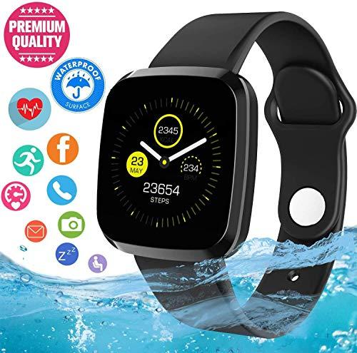 Ecomono Smartwatch, sporthorloge, waterdicht, fitness-horloge, intelligent met touchscreen, smartwatch, compatibel met iOS Android smartphone met stappenteller, slaapanalyse voor dames en heren