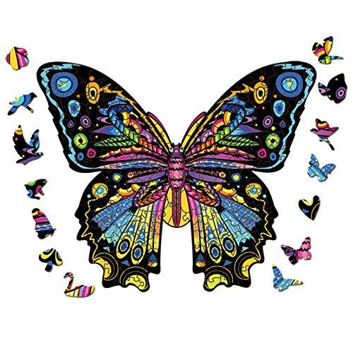 FOTBIMK Holzpuzzle Erwachsene,holzpuzzle kinder mit Geschenkbox,Magisches Holzpuzzle Schmetterling,Wooden Puzzle,Holzpuzzle Tiere