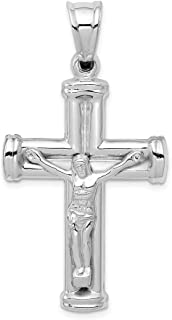 14k White Gold Reversible Crucifix Cross Pendant 2.63g (49x25mm)