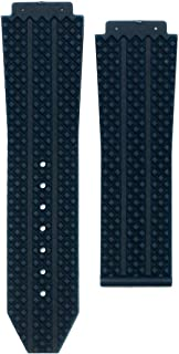 OHHAPPY - 25mm Replacement Black Blue Silicone Rubber Watch Band Strap for Hu-blot Big Bang