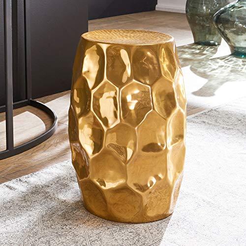 Tavolino da Salotto JAD 30x47x30cm in Alluminio Dorato Tavolo Orientale orientabile Rotondo. Tavolo da soffiare con Martello Piccolo. Tavolo Moderno di Design in Metallo. Tavolo Stretto