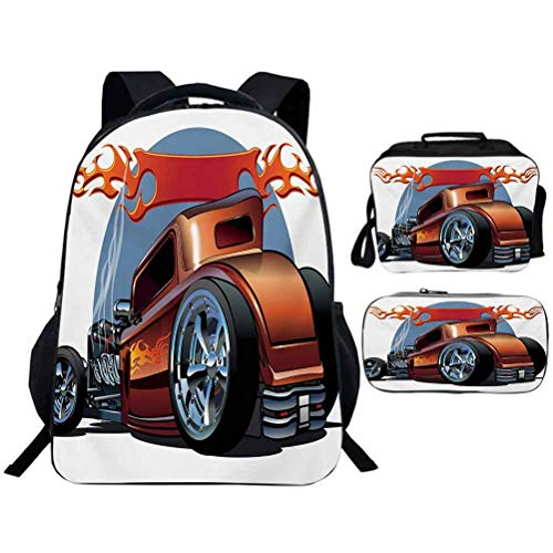 Kids School Backpack 3 Set with Lunch Bags Pencil Case Cars Cartoon Hot Rod Antique