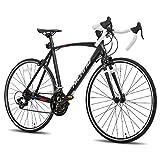 Hiland Rennrad 700c Racing Bike City Pendlerfahrrad mit 14 Geschwindigkeiten Antriebsstrang 55cm Schwarz