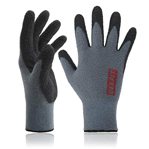 DEX FIT Warm Fleece Work Gloves NR450, Comfort Spandex Stretch Fit, Power Grip, Lightweight & Thin, Durable Water Based Nitrile Rubber Coating, Machine Washable, Grey Medium 3 Pairs