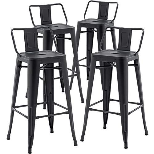 TONGLI Metal Bar Stools Set of 4 Counter Height Stools 30 Inchs Counter Stools Black Bar stools with Backs Bar Height Stools Indoor Outdoor Matte Black, Low Back