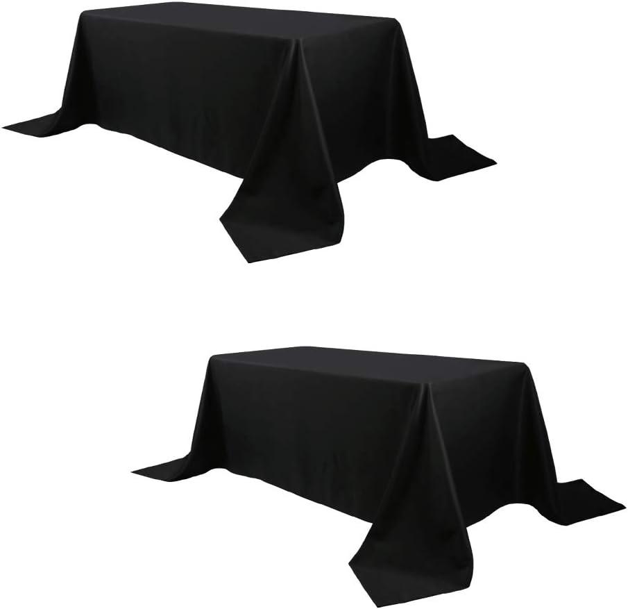 Waysle Luxury goods 90 Popular x 132 Inch Black Rectangular Polyester Tablecloth Was
