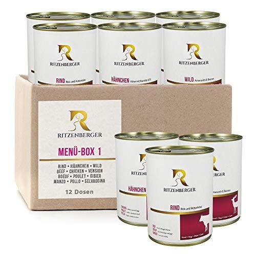 Menü-Box #1 - Rind / Hähnchen / Wild - 12 x 800g Dosen | Hundefutter vom Metzgermeister Ritzenberger