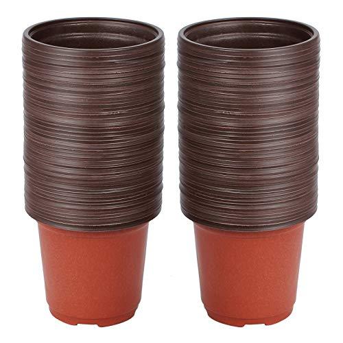 Netume Macetas de plástico, 100 macetas ligeras para esquejes de plántulas, pequeñas y flexibles, con orificios de drenaje para invernadero interior y exterior, redondas, 10 cm