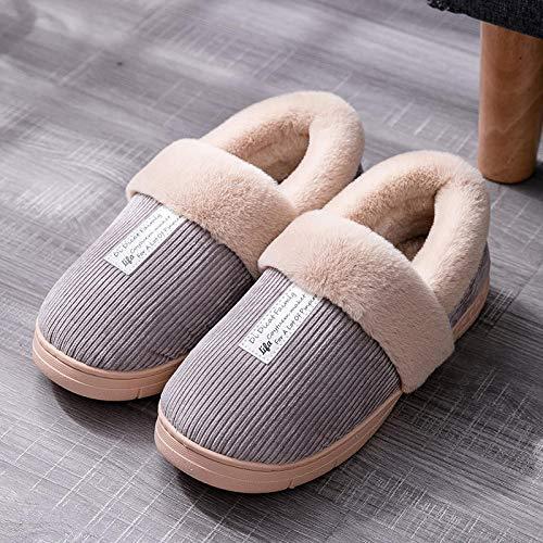 Winter Slippers Waterproof House Slippers,Winter bag heel cotton shoes, non-slip warm slippers-gray_UK6.5-UK7,Men's House Slippers Warm Cozy,